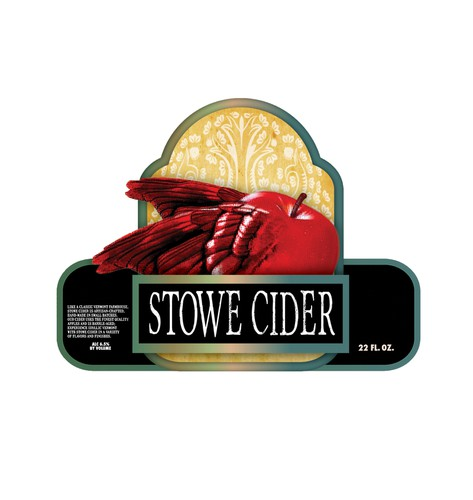 Apple label with the title 'Create a hard cider label for champagne size green bottle'