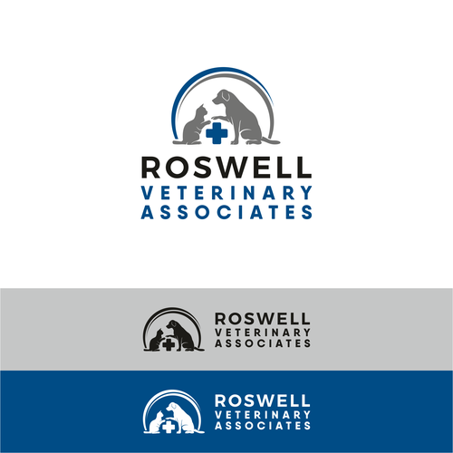 Blue and gray logo with the title 'logo for a new veterinary hospital'