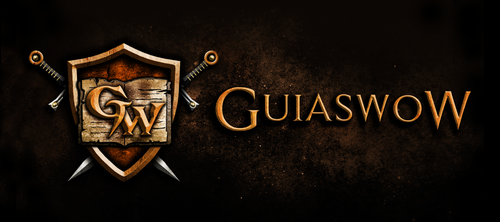 Gritty logo with the title 'Build an awesome World of Warcraft community website logo for GuiaswoW!'