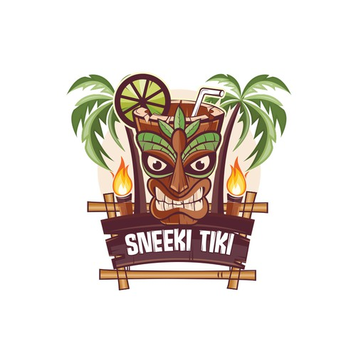 Tiki design with the title 'This mascot logo design for a tiki restaurant & bar.'