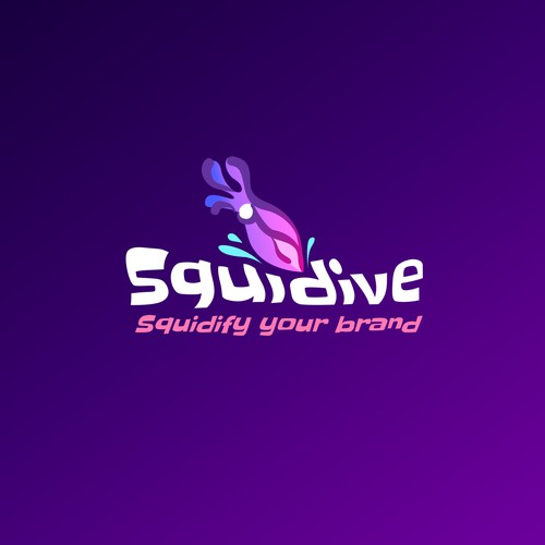 Diving logo with the title 'Purple Squid for a Branding Company'