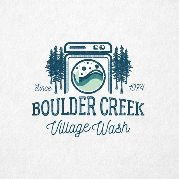 Laundromat logo with the title 'Boulder Creek Village Wash'