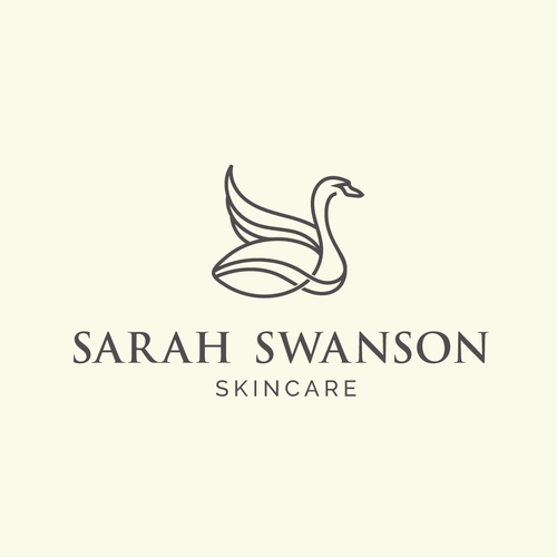 Swan design with the title 'Sarah Swanson Skinecare'