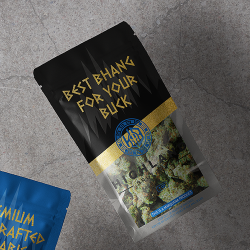 Weed packaging with the title 'Highland Brothers'