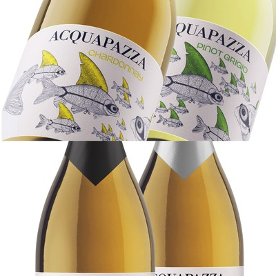 AQUAPAZZA set of wine labels for Italian wines.
