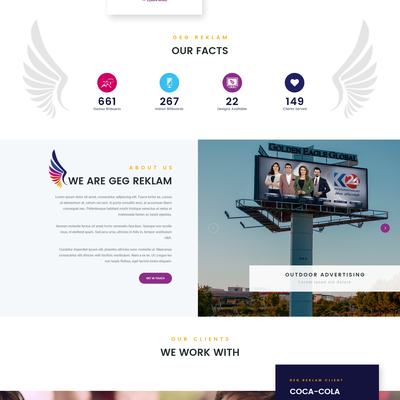 Web design for design and advertising company