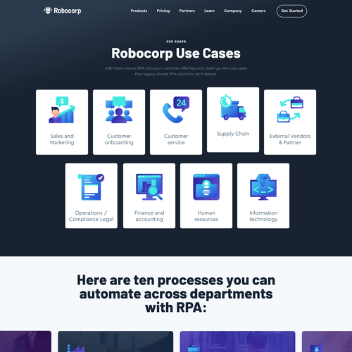 Process design with the title 'Landing page for software developer'
