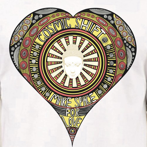 Heart t-shirt with the title 'Cosmic Shift Make Space for Love'