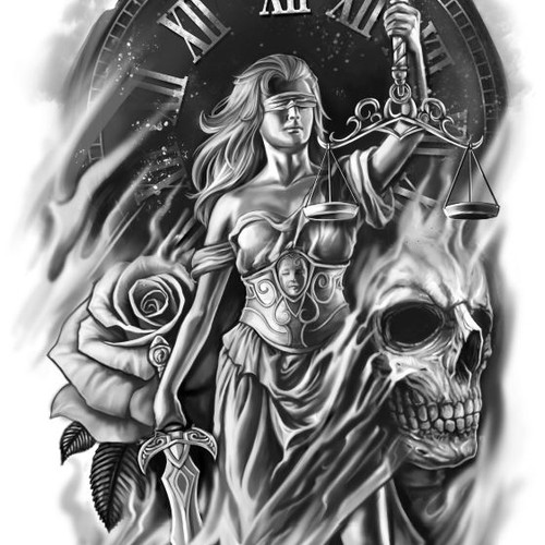 Sleeve design with the title 'Lady Justice Tattoo design'