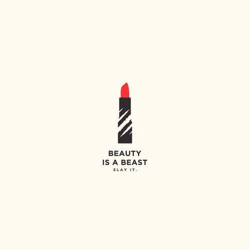 Lipstick design with the title 'Beauty is a Beast'