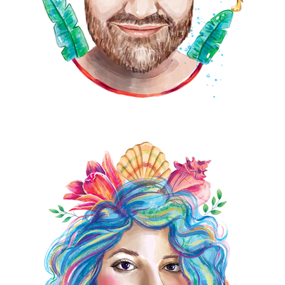 6 watercolor portraits