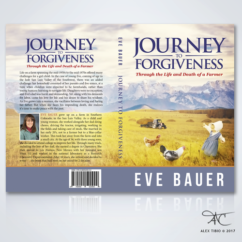 "Female book cover with the title 'Full Book Cover Design for Eve Bauer's ""Journey to Forgiveness""'"