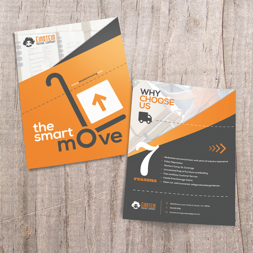 Moving design with the title 'Clean, Minimalist Flyer for Moving Company'