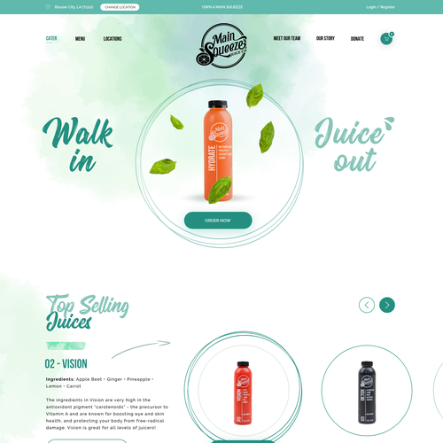 Adobe XD design with the title 'Main Squeeze - Juice and Smoothie'