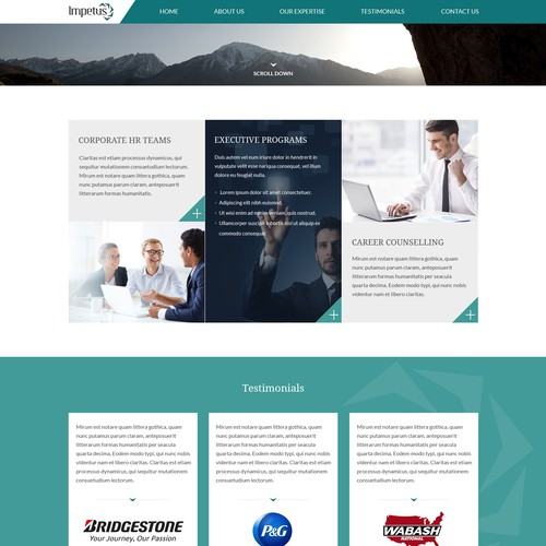Motivational design with the title 'Homepage Design For Corporate Psychological Services'