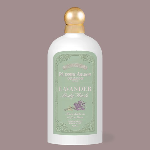 Soap label with the title 'Lavender Body Wash'