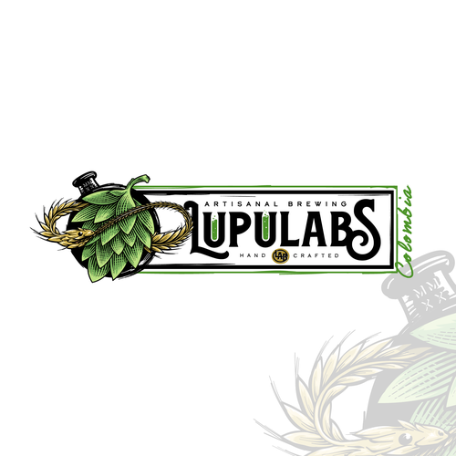 Artisanal design with the title 'LUPULABS or Lupulabs Artisanal Brewing L.A.B.'