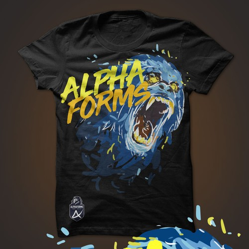 Gorilla t-shirt with the title 'Alphaforms'