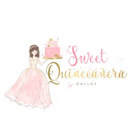 Party design with the title 'Cute logo for Quinceañera cakes and Pastries'