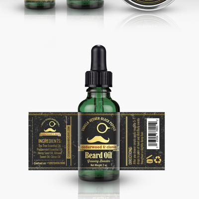 Beard Oil and Balm, labels design