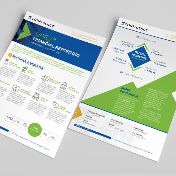 Platform design with the title 'Confluence - New Collateral Brochure Template'