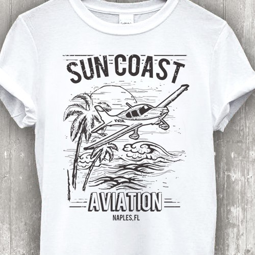 Sports t-shirt with the title 'Retro Design for an Aviation School in Florida.'