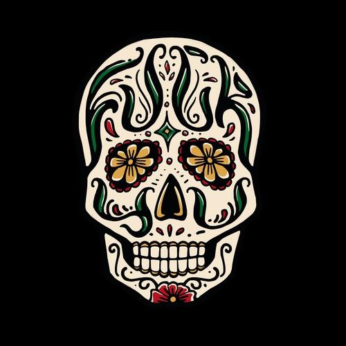 Dia de los Muertos design with the title 'Sugar Skull Design with Hidden Text'