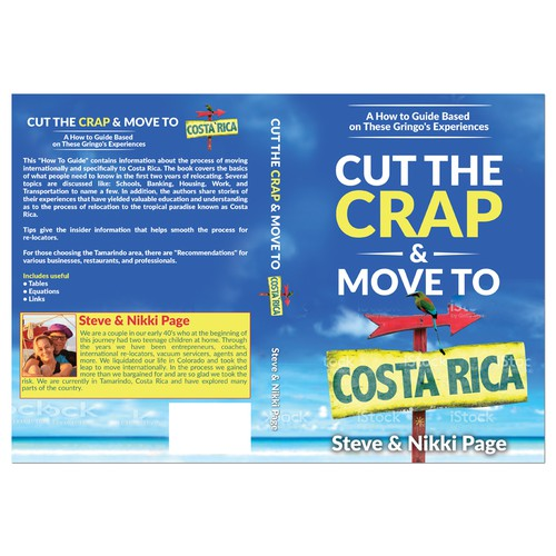 International design with the title 'Costa Rican relocation guide needs an eye catching cover'