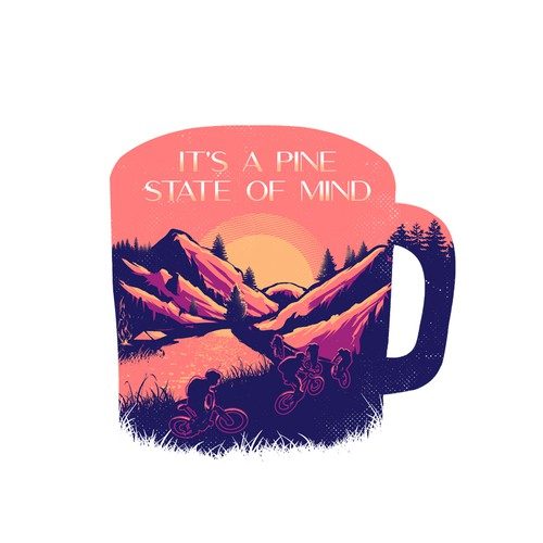 Sunset design with the title 'It's a pine state of mind'