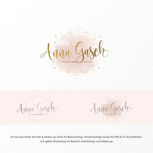 Rose gold logo with the title 'Logo concept for Hair & Make-up Artist für Brautstyling, Fotoshootings sowie für Film & TV Aufnahmen'