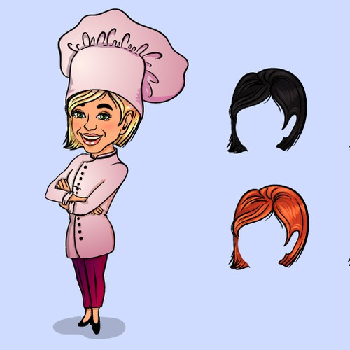 "Chef artwork with the title 'Female ""Generic Chef"" illustration – with hat and variations'"