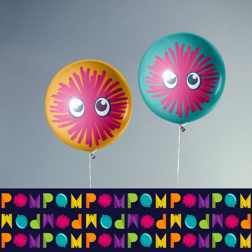 Rainbow logo with the title 'Logo and Brand Guide for Pom Pom Play & Party'