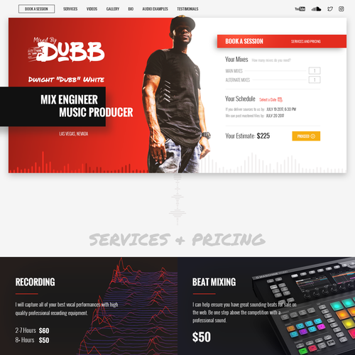 One page website with the title 'Single page website for recording producer'