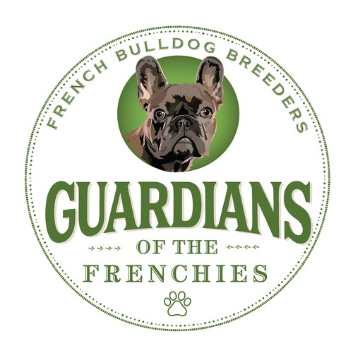 French bulldog design with the title 'Guardians of the Frenchies Logo'