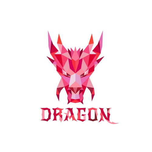 Low poly logo with the title 'Dragon'