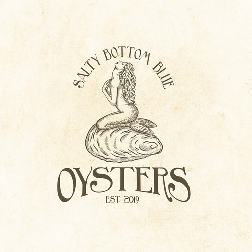 Oyster logo with the title 'Mermaid hand-drawn logo for oysters producer'
