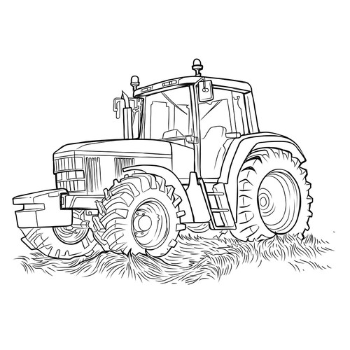 Line drawing artwork with the title 'Modern Tractor'