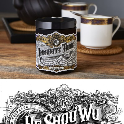 Hand drawn supplement label