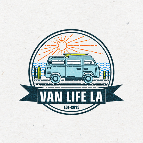 "Bus logo with the title 'Design a Vintage logo for ""VANLIFE LA""'"