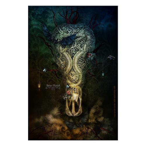 Skull illustration with the title 'unique fantasy art'