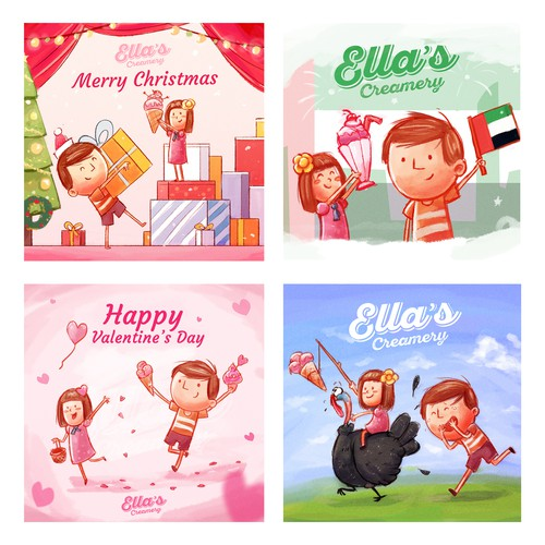 Holiday design with the title 'Fun Holidays illustrations'