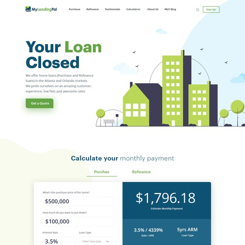 Typography website with the title 'MyLendingPal - Mortgage website Redesign. Modern, young theme. Will work with you to finish the rest'