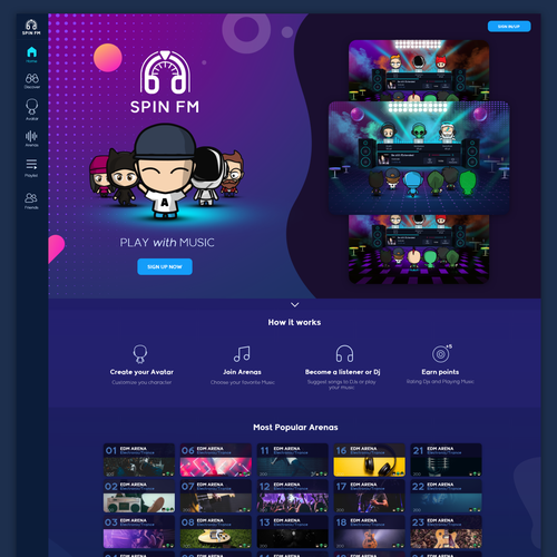 Puppet design with the title 'UI for a Music Based Social Network'