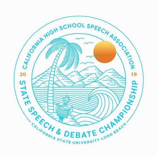 Beach t-shirt with the title '2019 CHSSA State Shirt'
