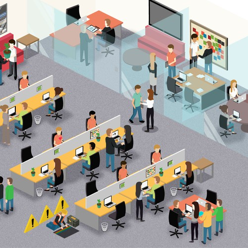 Detailed illustration with the title 'Office Illustration'