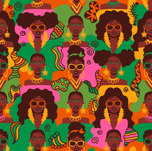 African American design with the title 'Textile Design Patterns for African American women'