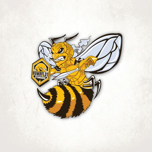 Shield design with the title 'Humboldt Bee Warrior Illustration'