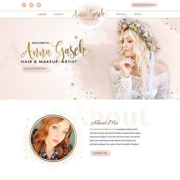 Makeup artist design with the title 'Creative New webdesign for Hair and Makeup Artist '