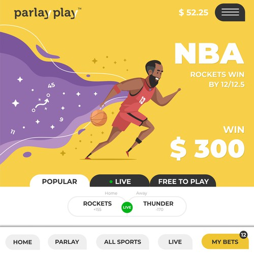 Splash screen design with the title 'Concept Art for a betting app'