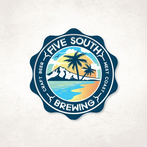 Beach club logo with the title 'Five South'
